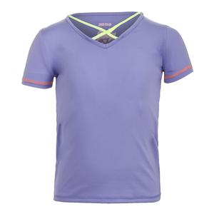 Girls` Criss Cross Cap Sleeve Tennis Top Lilac