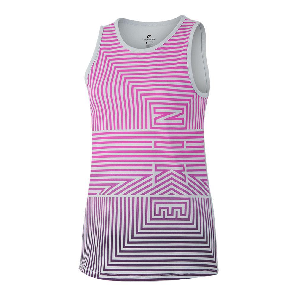Girls'sportswear Tank Pure Platinum And Hyper Magenta