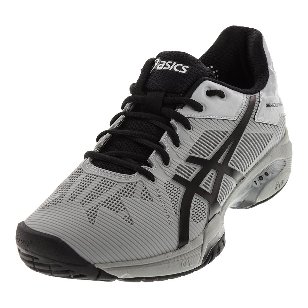 ASICS ASICS Men's Gel- Solution Speed 3 Tennis Shoes Mid Gray And Black