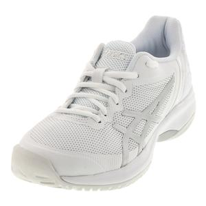 Men`s Gel-Court Speed Tennis Shoes White and Silver