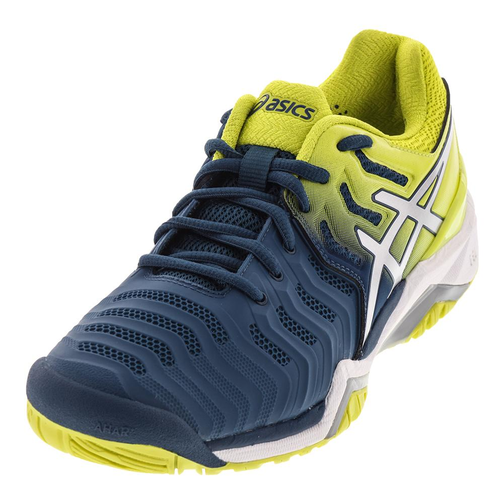 ASICS de Mens Soufre Gel Resolution 7 Chaussures de Bleu Tennis Encre Bleu et Soufre eb9aae0 - wartrol.website