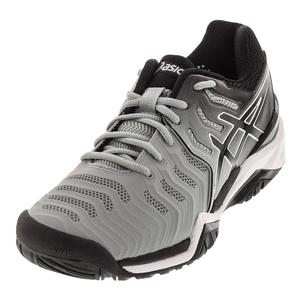 Mens Gel-Resolution 7 Tennis Shoes Mid Gray and Black