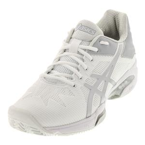 Women`s Gel-Solution Speed 3 Clay Tennis Shoes White and Silver