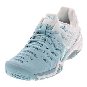 Women`s Gel-Resolution 7 Tennis Shoes Porcelain Blue and Silver