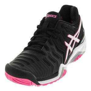 Women`s Gel-Resolution 7 Tennis Shoes Black and Silver