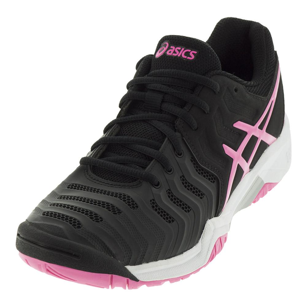 Juniors ` Gel- Resolution 7 Tennis Shoes Black And Hot Pink
