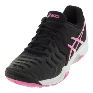 Juniors` Gel-Resolution 7 Tennis Shoes Black and Hot Pink