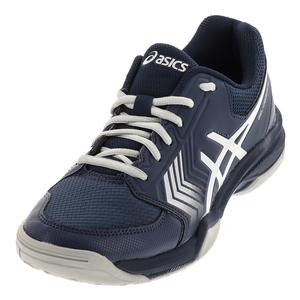 Men`s Gel-Dedicate 5 Tennis Shoes Dark Blue and Silver