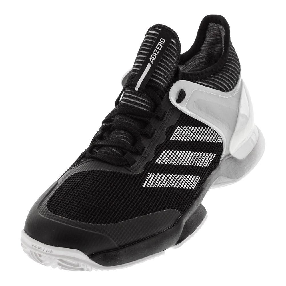 Men's Adizero Ubersonic 2.0 Clay Tennis Shoes Black And White