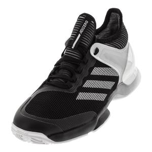 Men`s Adizero Ubersonic 2.0 Clay Tennis Shoes Black and White