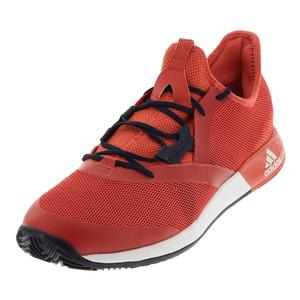 Men`s Adizero Defiant Bounce Tennis Shoes Trace Scarlet and White