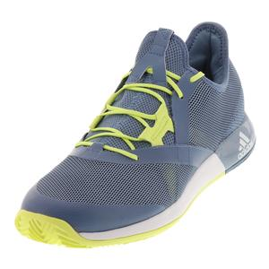 Men`s Adizero Defiant Bounce Tennis Shoes Raw Gray and Semi Frozen Yellow