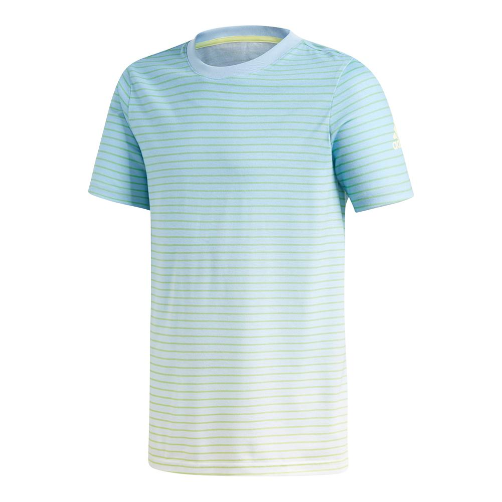 Boys ` Melbourne Tennis Tee Semi Frozen Yellow And Ash Blue