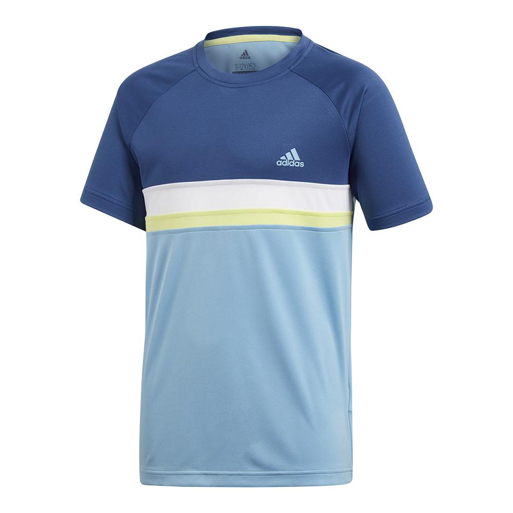 Boys ` Club Color Block Tennis Tee Ash Blue