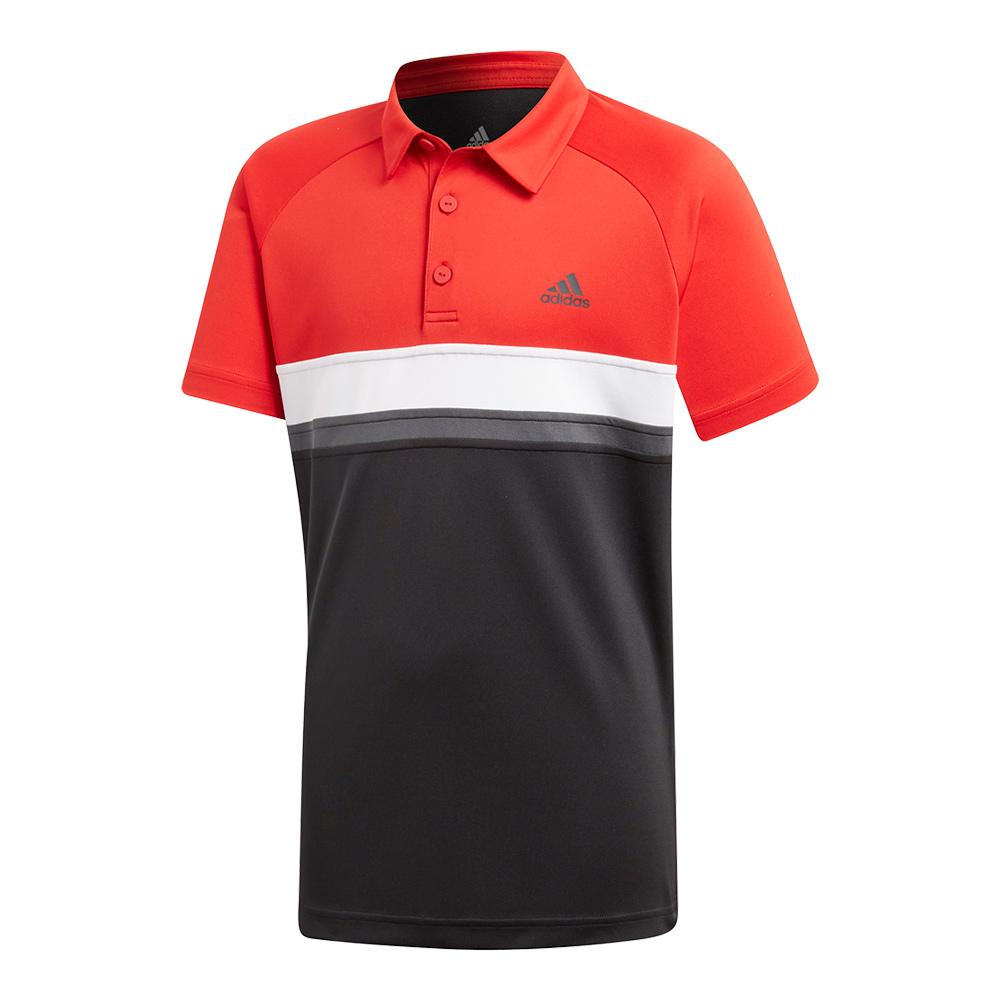 Boys ` Club Color Block Tennis Polo Black