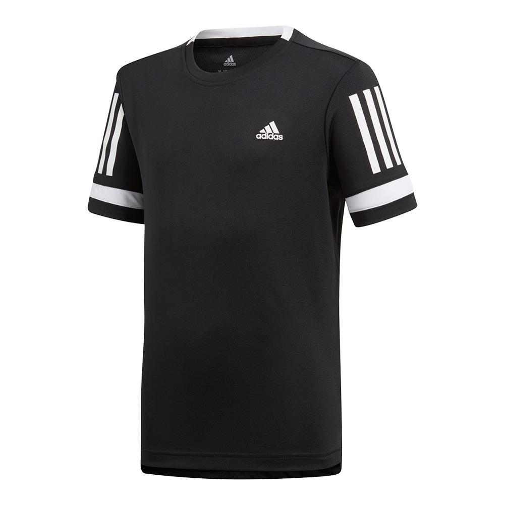 Boys ` Club 3 Stripes Tennis Tee Black