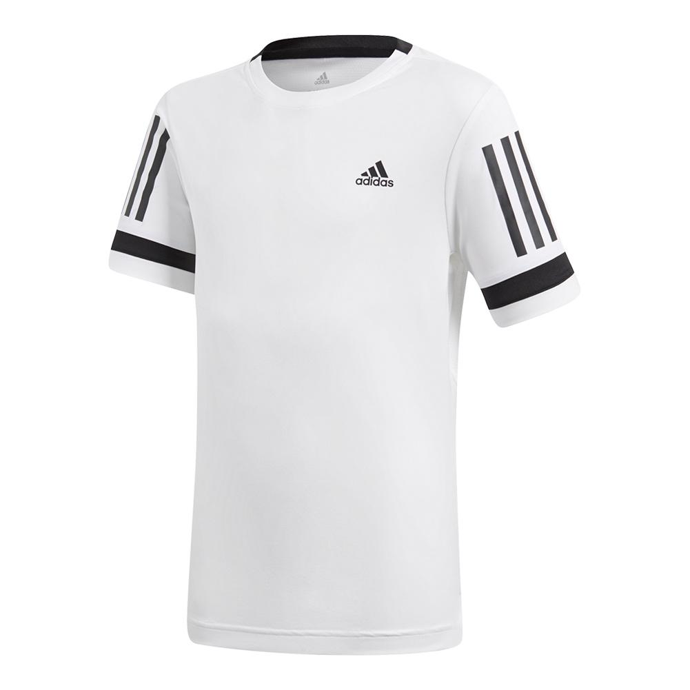 Boys ` Club 3 Stripes Tennis Tee White
