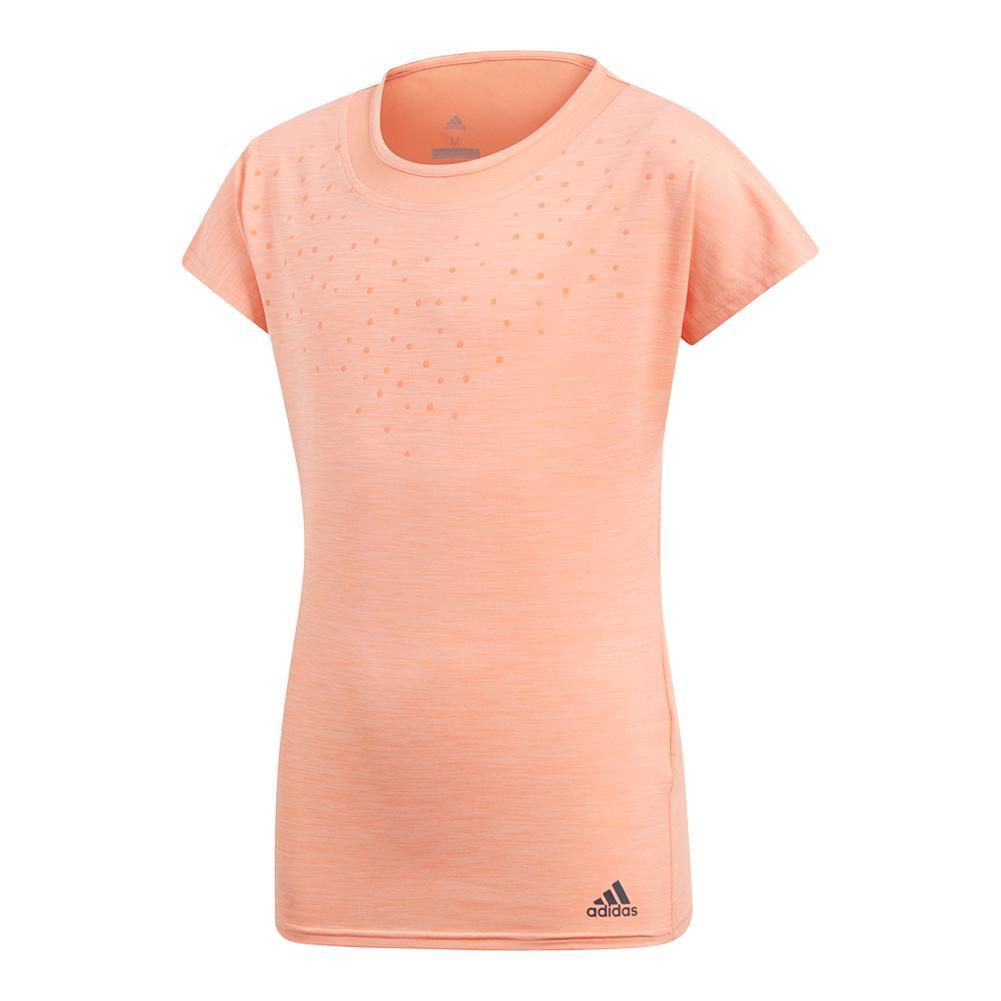Girls ` Dotty Tennis Tee Chalk Coral