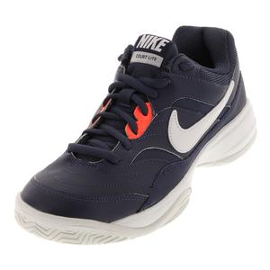 Men`s Court Lite Tennis Shoes Thunder Blue and White