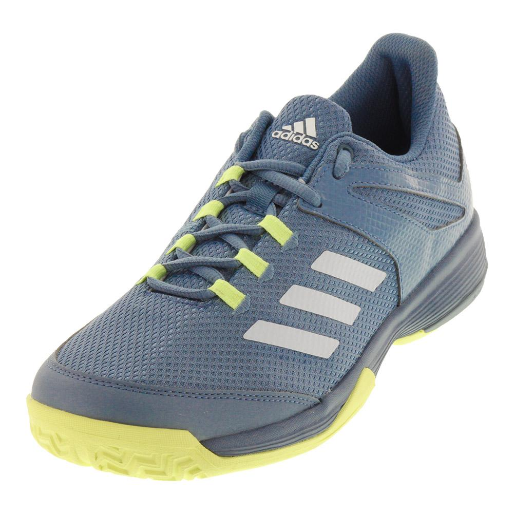 Juniors ` Adizero Club K Tennis Shoes Blue And Yellow