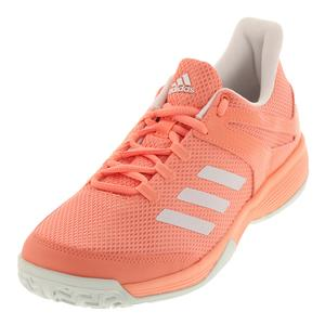 Juniors` Adizero Club K Tennis Shoes Chalk Coral and White
