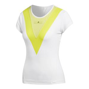 Women`s Stella McCartney Barricade Tennis Tee White and Aero Lime