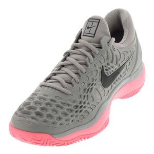 Men`s Zoom Cage 3 Tennis Shoes Atmosphere Gray and Sunset Pulse