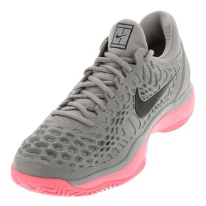 Juniors` Zoom Cage 3 Tennis Shoes Atmosphere Gray and Sunset Pulse
