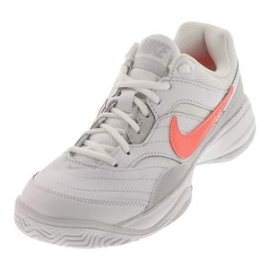 Women`s Court Lite Tennis Shoes White and Lava Glow
