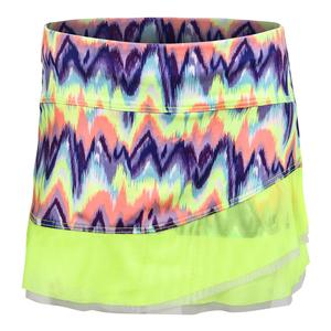Girls` Neon Ikat Circle Mesh Tennis Skort Lemon Frost