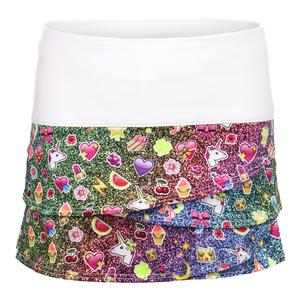 Girls` Scallop Tennis Skort Glitter Rainbow