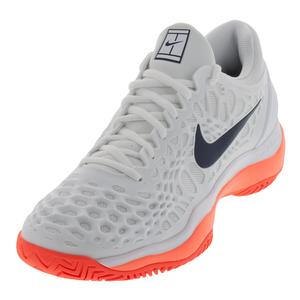 Men`s Zoom Cage 3 Tennis Shoes White and Thunder Blue