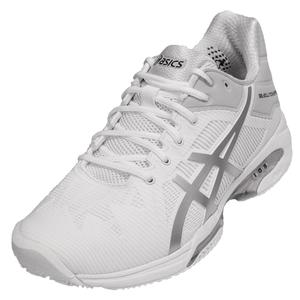 Men`s Gel-Solution Speed 3 Clay Tennis Shoes White and Silver