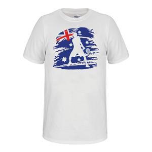 Unisex Aussie Flag Tennis Tee White