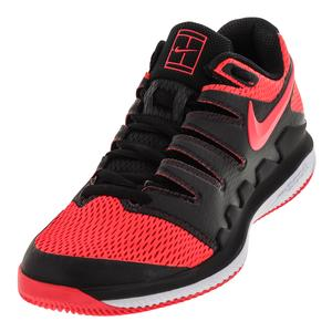 Women`s Air Zoom Vapor 10 Tennis Shoes Black and Solar Red