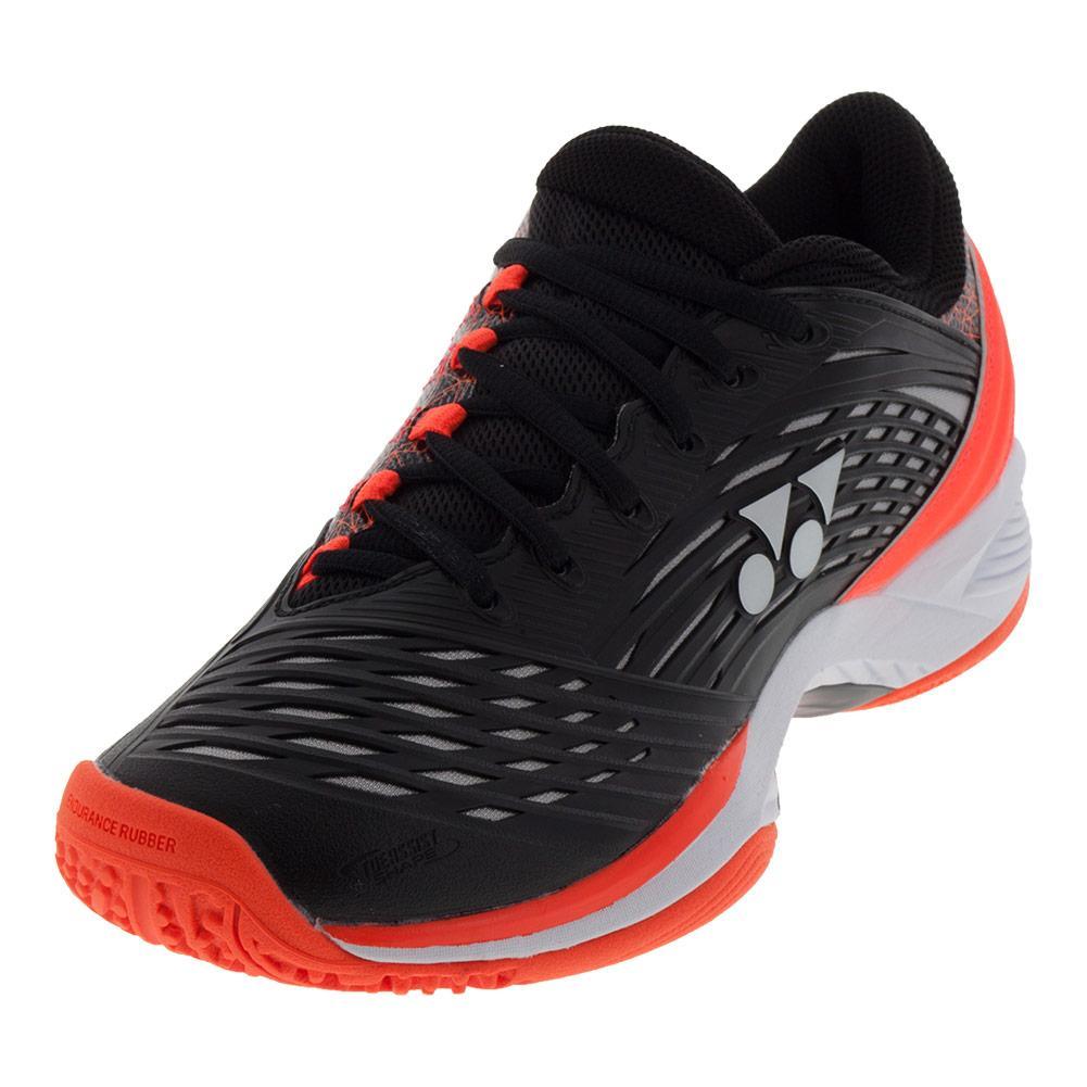 Yonex mens power cushion fusionrev tennis shoe in black and orange jpg  1001x1001 Black tennis shoes ee53d8c89