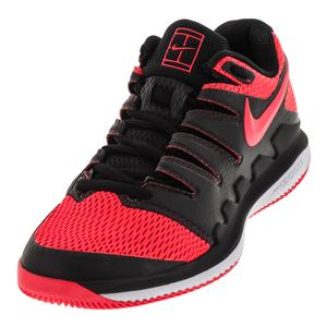 Men`s Air Zoom Vapor X Tennis Shoes Black and Solar Red