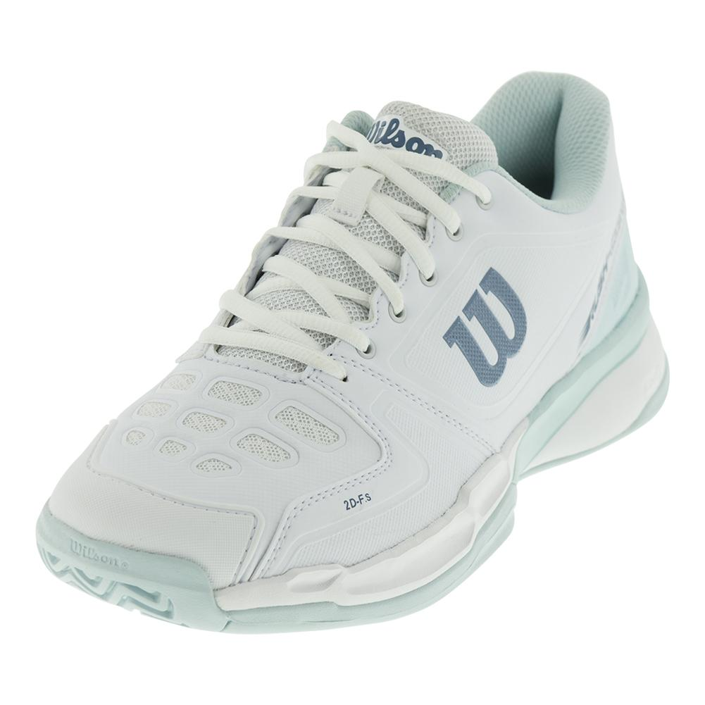 Women's Rush Comp Tennis Shoes White And Blue Glow