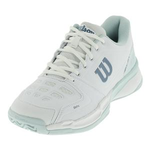 Women`s Rush Comp Tennis Shoes White and Blue Glow