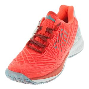 Women`s Kaos 2.0 Tennis Shoes Fiery Coral and White