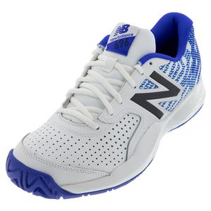 Men`s 696v3 D Width Tennis Shoes White and Royal