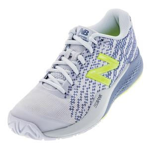 Women`s 996v3 B Width Tennis Shoes Blue and Solar Yellow