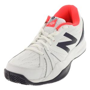Women`s 786v2 B Width Tennis Shoes Vivid Coral and White