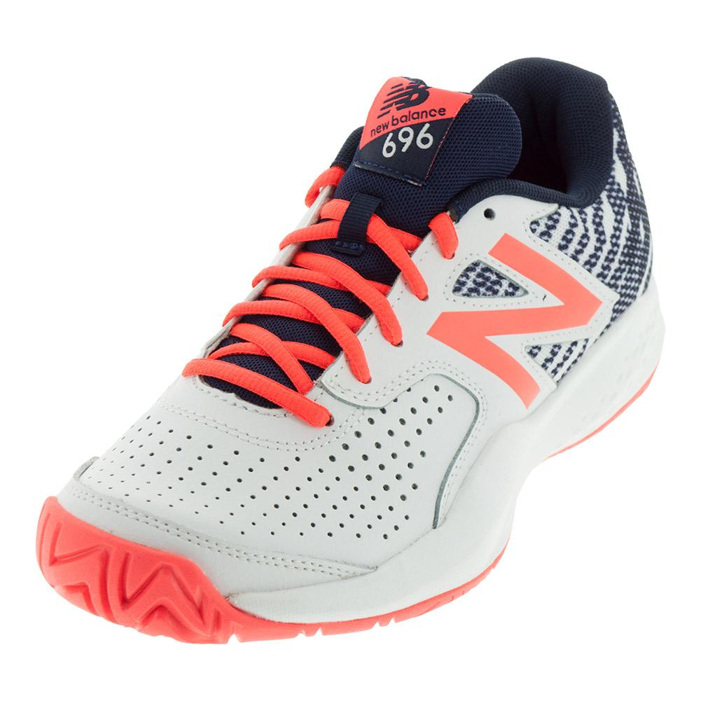 Women's 696v3 B Width Tennis Shoes Pigment And Vivid Coral
