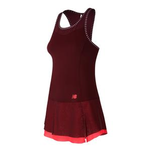 Women`s Rosewater Tennis Dress Oxblood and Vivid Coral