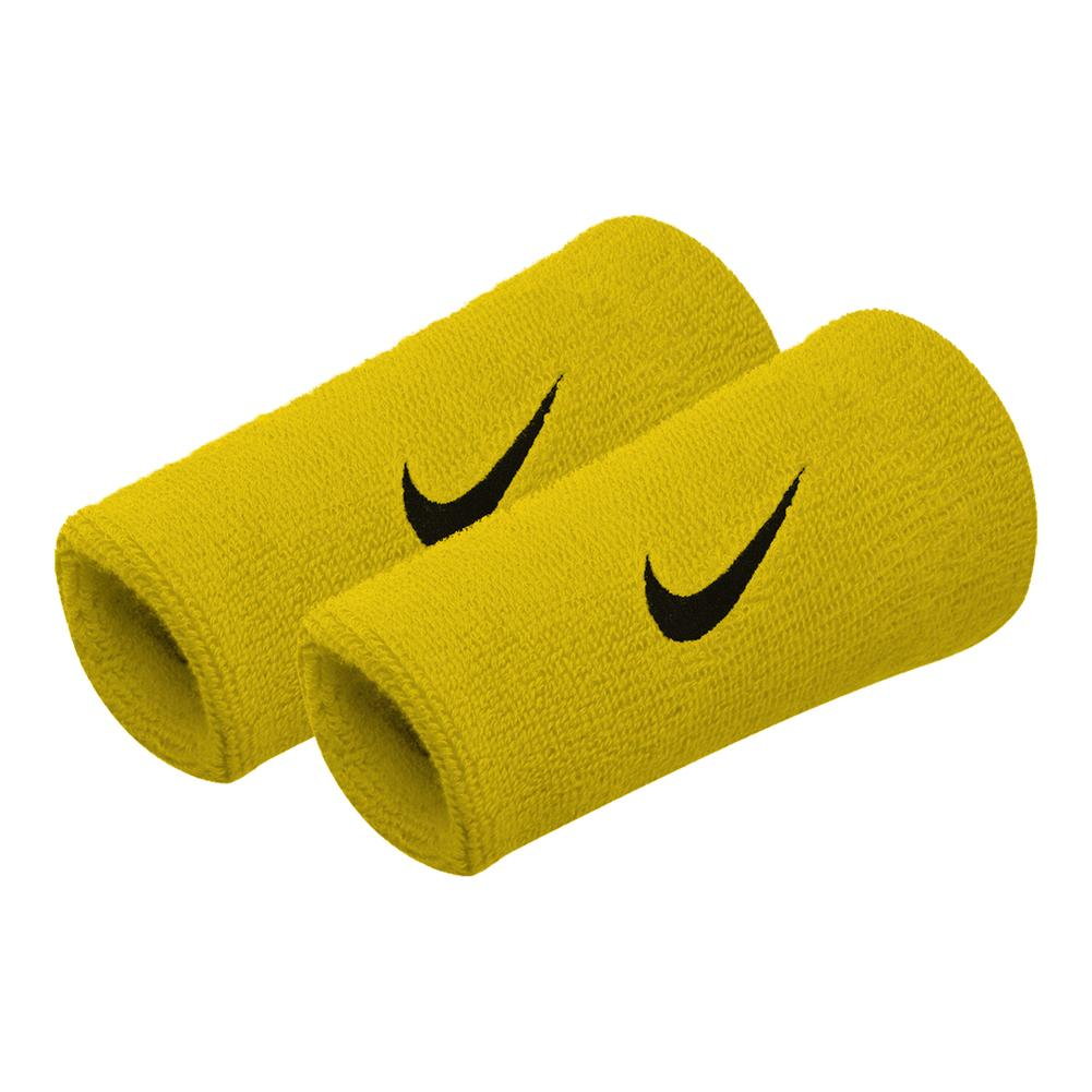 Premier Double Wide Tennis Wristbands Bright Citron And Black