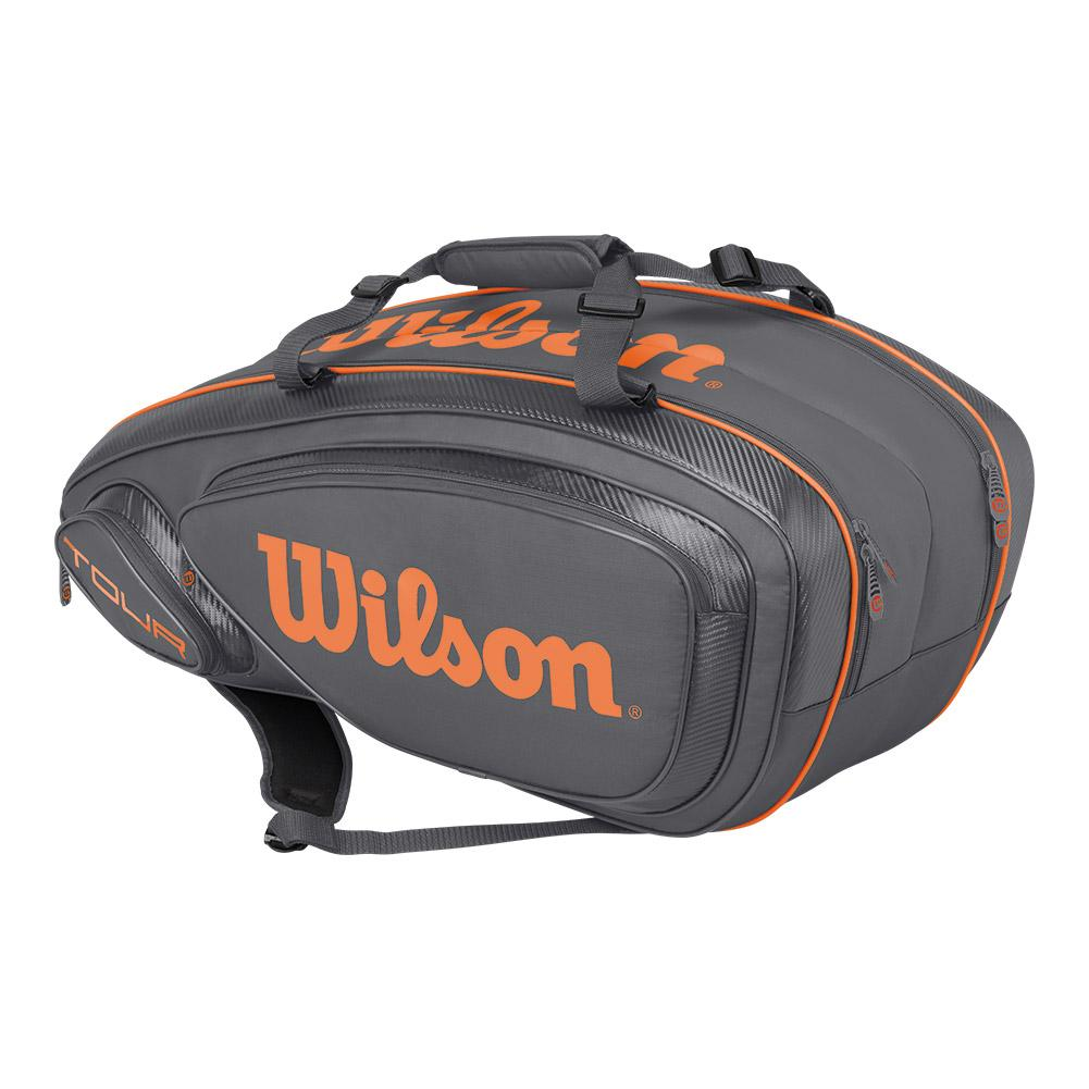 Tour V 9 Pack Tennis Bag Gray And Orange