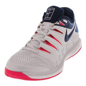Juniors` Air Zoom Vapor 10 Tennis Shoes White and Thunder Blue