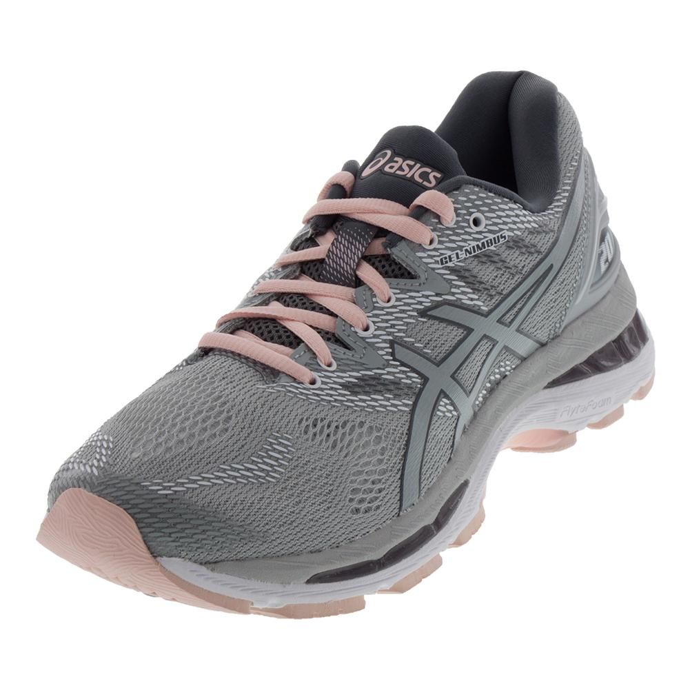 4a3ad7418855 ASICS ASICS Women s Gel- Nimbus 20 Running Shoes Mid Gray And Seashell Pink