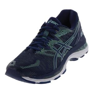 Women`s Gel-Nimbus 20 Running Shoes Indigo Blue and Green